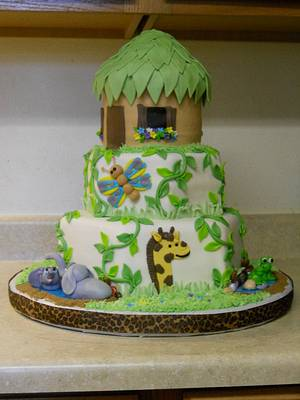 Jungle baby shower  - Cake by Laurie