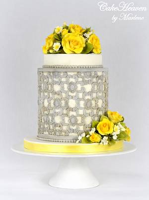 Yellow Roses Wedding Anniversary Cake - Cake by CakeHeaven by Marlene