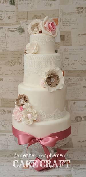 Vintage Rosettes & Lace Wedding Cake - Cake by Janette MacPherson Cake Craft