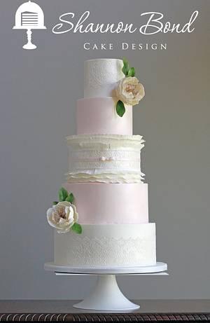 Lace and Frilled Ruffle Wedding Cake - Cake by Shannon Bond Cake Design
