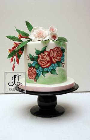 Sugar flowers and hand painted roses. - Cake by JT Cakes