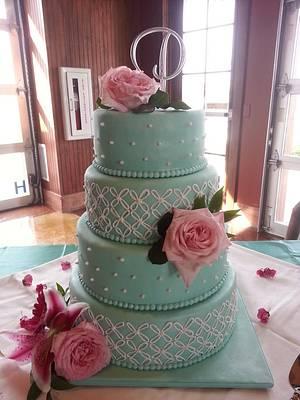Tiffany Blue Wedding Cake - Cake by Kassie Smith
