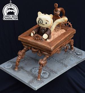 Edmund J Fluffington and his Ambulatory Litter Box - Cake by Jean A. Schapowal