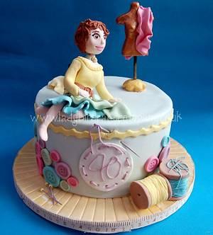 Sewing themed fortieth birthday cake - Cake by Liz, Ladybird Cake Company