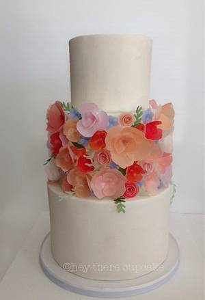 Wafer paper flowers  - Cake by Stevi Auble