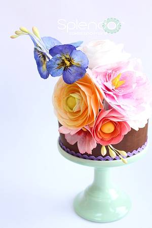 Vibrant Wafer Paper Posy - Cake by Ellen Redmond@Splendor Cakes