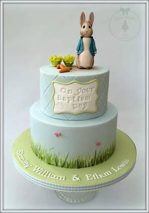 Peter Rabbit Baptism Cake  - Cake by Kirsty