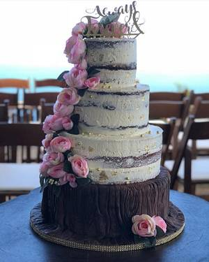 Wedding Tiers -Tree Trunk with naked layers - Cake by MsTreatz