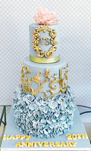 Wedgewood blue and gold with ruffles  - Cake by Tiers of joy