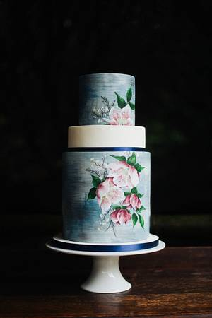 Textured watercolour cake with hand painted hellebores - Cake by Emily Hankins Cakes