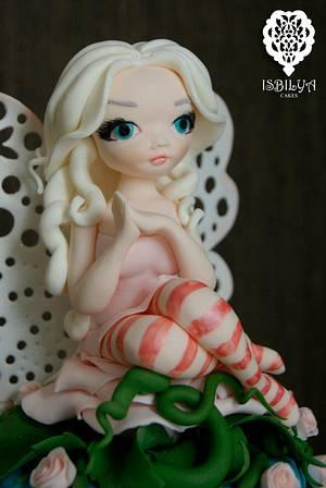 Rose Fairy Cake Topper - Cake by Isbilya Cakes
