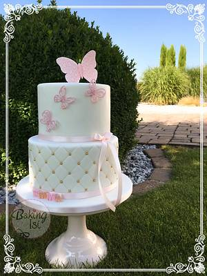 Christening cake in pink and gold - Cake by Baking Isi