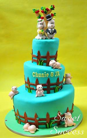 Piggy Wedding Cake - Cake by Sweet Success