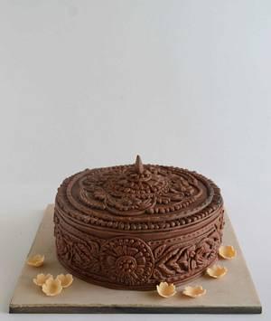 Intricate Wood Carved Box Cake - Cake by Gayathri Kumar