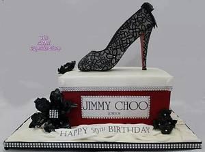 Jimmy Choo shoe and box - Cake by Amelia Rose Cake Studio