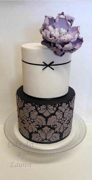 Blackberry peony and damask cake - Cake by Lauren