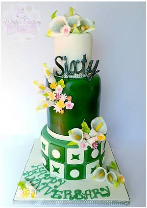 60th wedding anniversary  - Cake by Sabrina - White's Custom Cakes