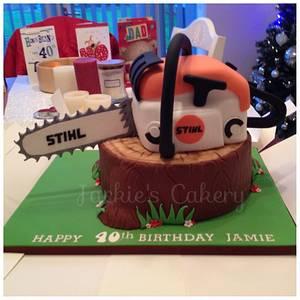 Tree stump & chainsaw - Cake by Jackie's Cakery