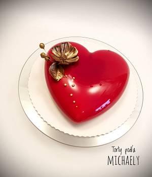 Mirror glaze heart - Cake by Michaela Hybska
