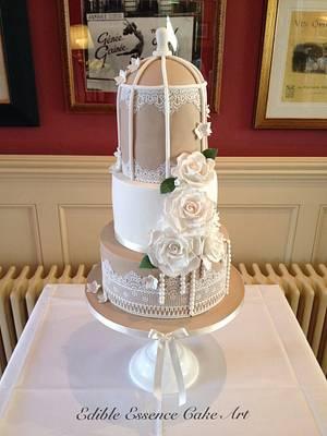 Vintage taupe and ivory birdcage wedding cake - Cake by Edible Essence Cake Art