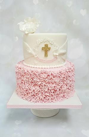 Ruffles christening cake  - Cake by Vanilla Iced