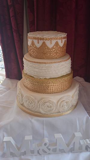 Sequins and lace.  - Cake by Aine Cuddihy