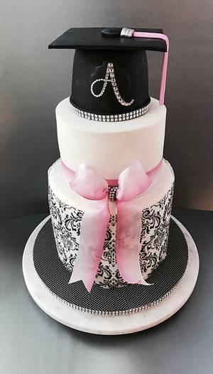 Pink and black graduation cake - Cake by Dozycakes