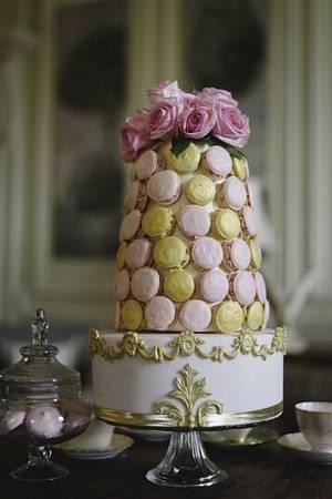 Marie Antoinette Macaron wedding cake - Cake by Edible Essence Cake Art