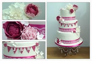 Bunting wedding cake  - Cake by Clairey's Cakery