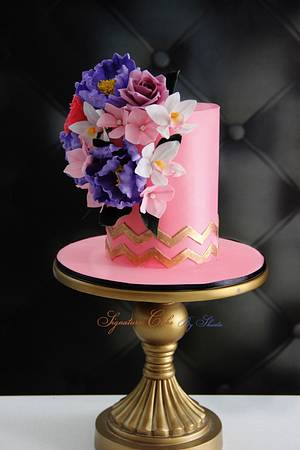 Pink Florals  - Cake by Signature Cake By Shweta