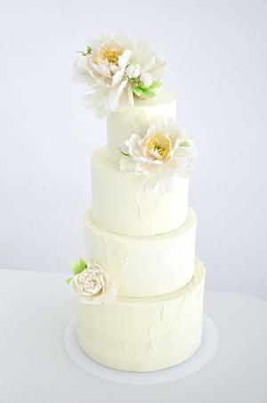 Wedding cake with peonies - Cake by Evgenia Vinokurova