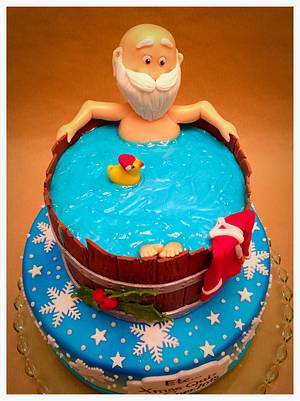 Santa taking a Break in bathtub - Cake by Simone Barton