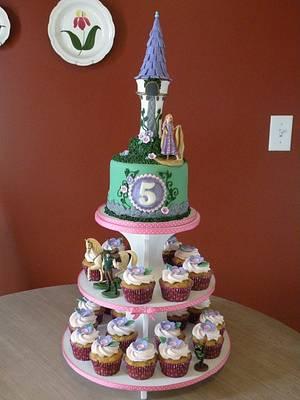 Tangled cake & cupcake tower - Cake by Dani Johnson