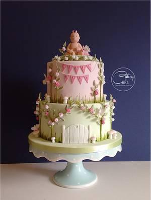 Enchanted Garden Baby Shower Cake - Cake by CakeyCake