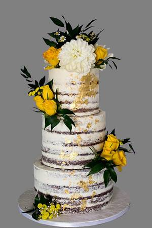wedding cake with fresh flowers - Cake by Dimi's sweet art