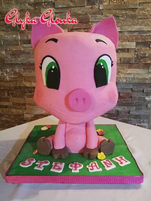 Piggy - Gravity Cake - Cake by Georgia Luca (Glyka Glouka)