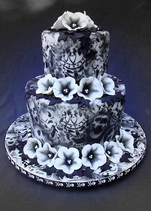 Airbrushed Skulls Cake - Cake by Cakes ROCK!!!
