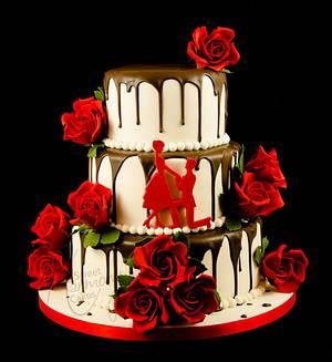Chocolate drip engagement cake - Cake by Sweet Harmony Cakes
