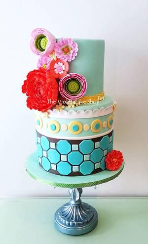 My Sis' MODERN & TRENDY Milestone Birthday Cake - Cake by Violet - The Violet Cake Shop™