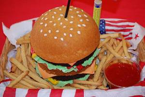 Cheeseburger and Fries - Cake by Lesley Wright