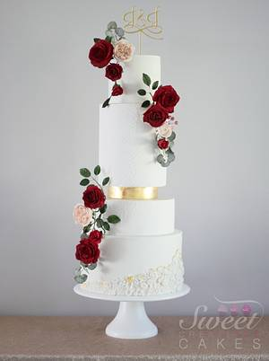 Red and gold wedding - Cake by Sweet Creations Cakes