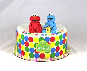 Elmo and cookie monster cake - Cake by soods