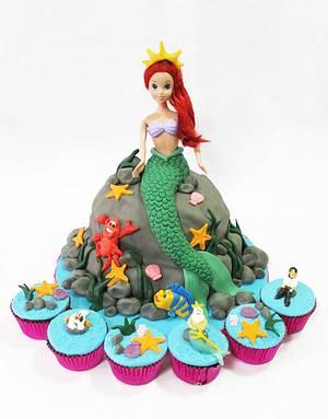 Ariel Cake and Little Mermaid Cupcakes - Cake by Larisse Espinueva