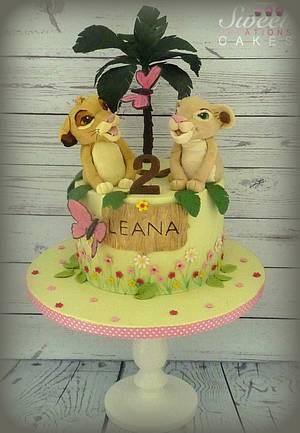 Simba and Nala (Lion King) birthday cake - Cake by Sweet Creations Cakes