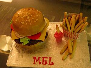 Mel's Cheeseburger Cake - Cake by Cakeicer (Shirley)