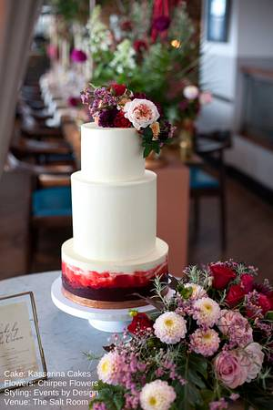 Buttercream cake with deep red watercolour - Cake by Kasserina Cakes