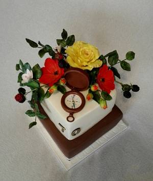 Flowers and compass - Cake by Anka