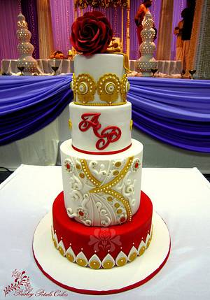 Bollywood Inspired Wedding Cake - Cake by Paisley Petals Cakes