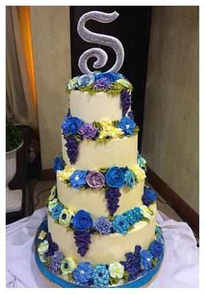 Blue and purple floral cake - Cake by Pink Plate Meals and Cakes