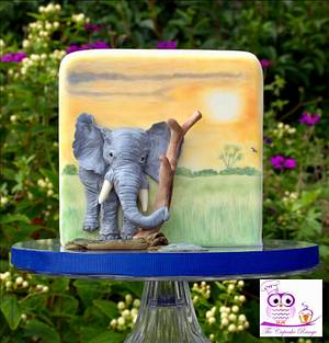 Elephant in the sunset - Cake by sarah